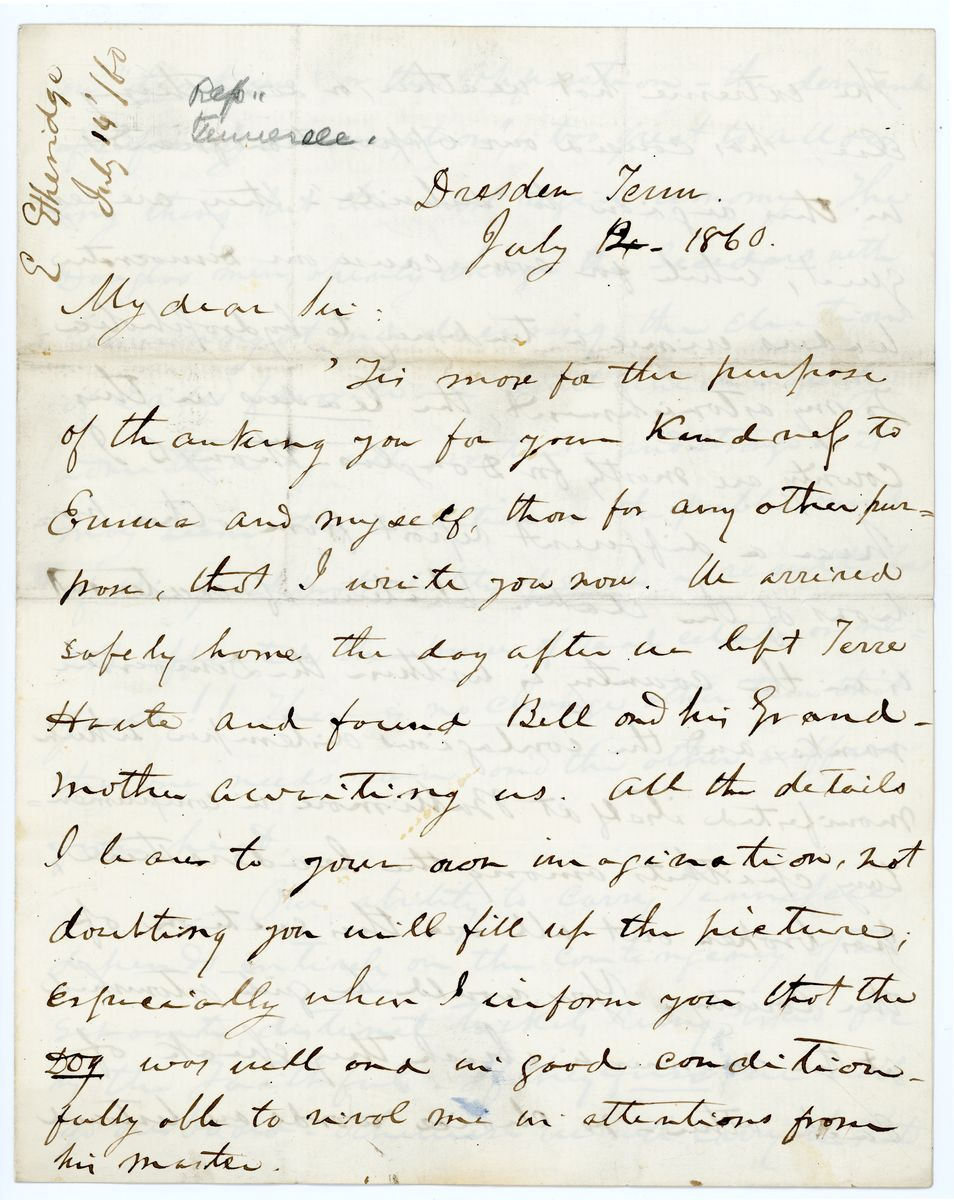Image: Letter from Emerson Etheridge to Richard W. Thompson