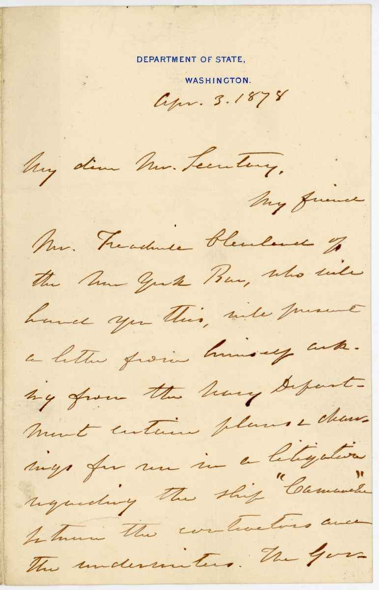 Image: Letter from William M. Evarts to Richard W. Thompson