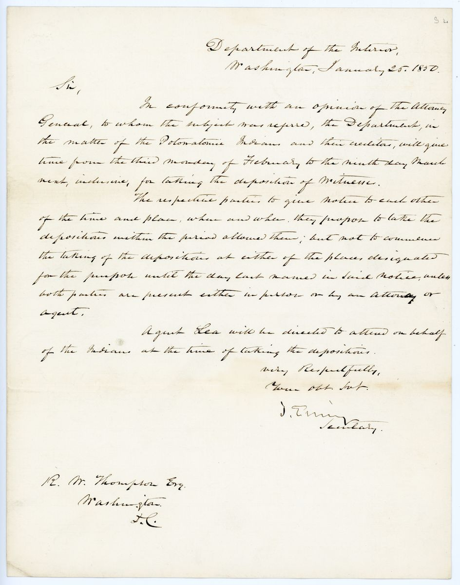 Image: Letter from Thomas Ewing to Richard W. Thompson