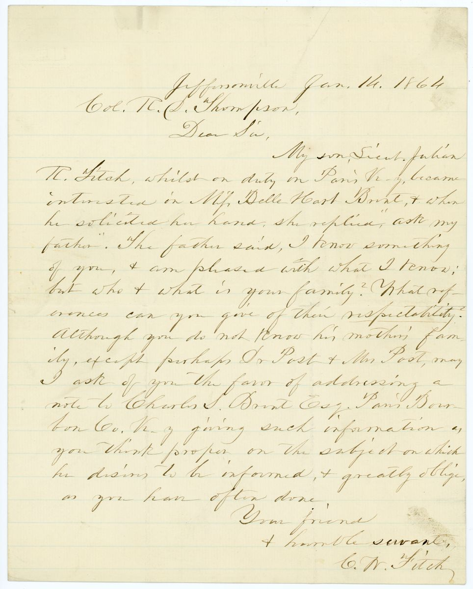Image: Letter from C.W. Fitch to Richard W. Thompson