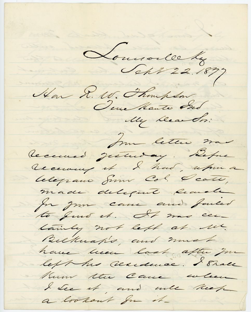 Image: Letter from John M. Harlan to Richard W. Thompson