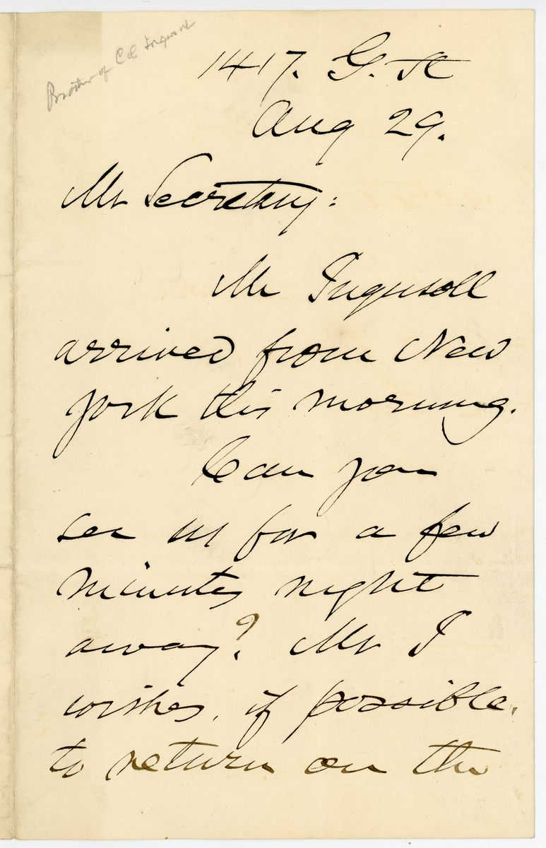 Image: Letter from E.C. Ingersoll to Richard W. Thompson