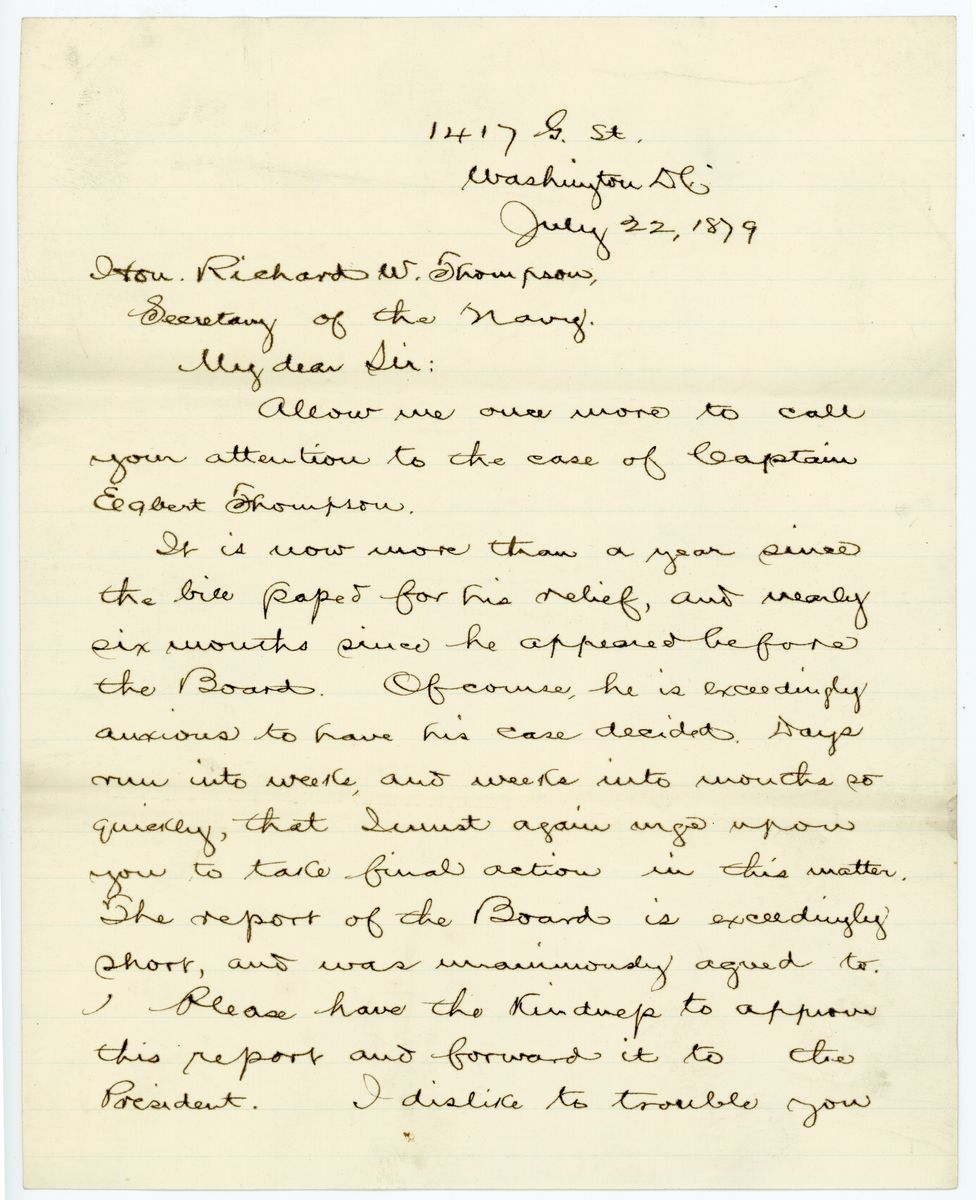 Image: Letter from Robert G. Ingersoll to Richard W. Thompson