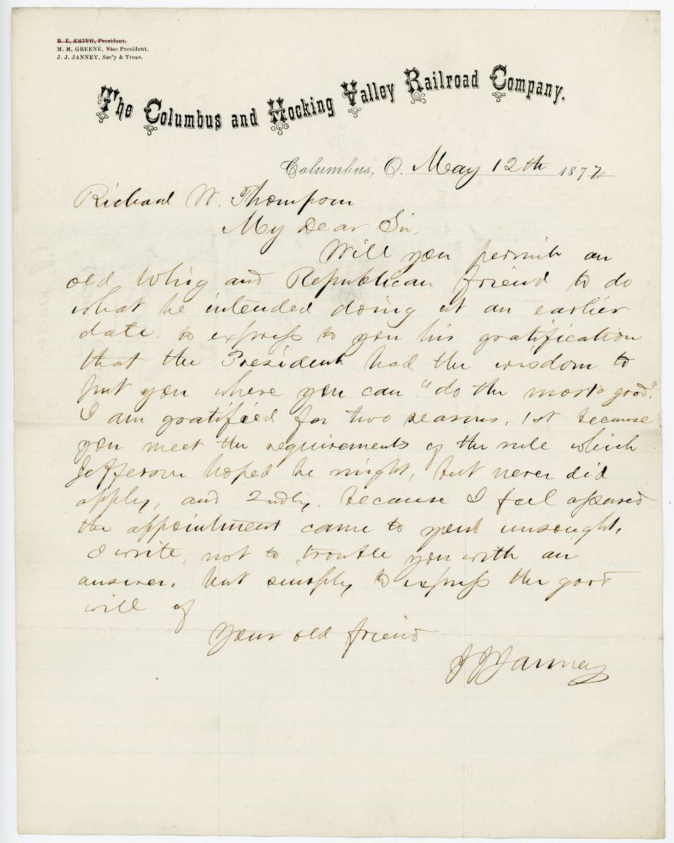 Image: Letter from John Jay Janney to Richard W. Thompson