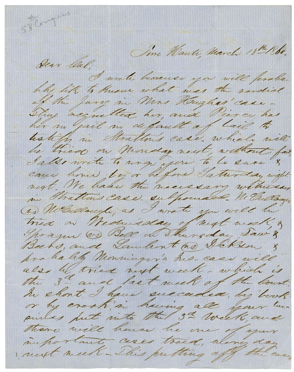 Image: Letter from Joseph S. Jenckes to Richard W. Thompson