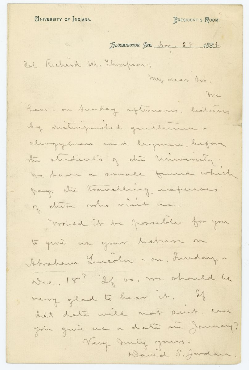 Image: Letter from David S. Jordan to Richard W. Thompson