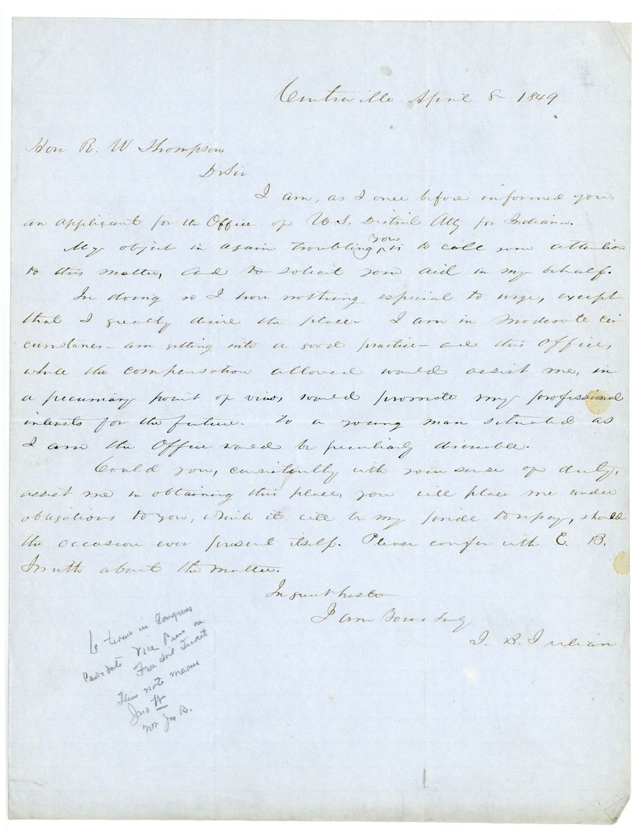 Image: Letter from J.B. Julian to Richard W. Thompson