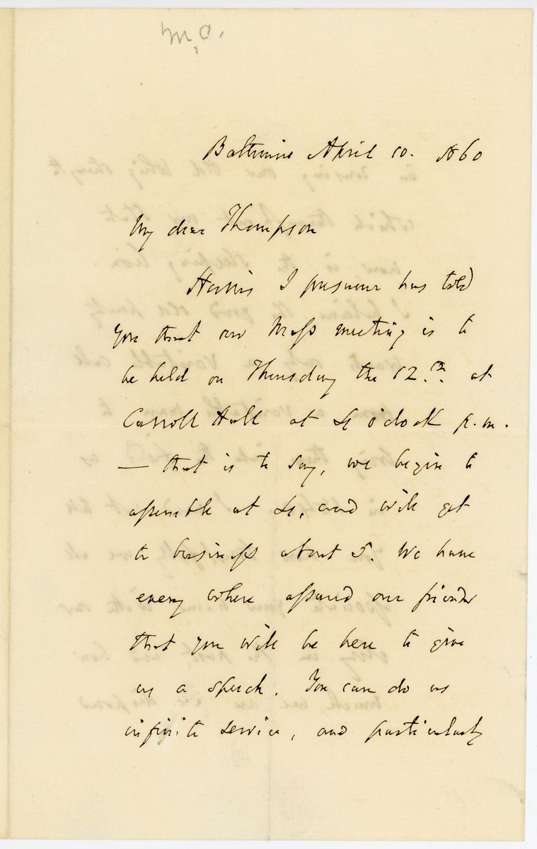 Image: Letter from John P. Kennedy to Richard W. Thompson