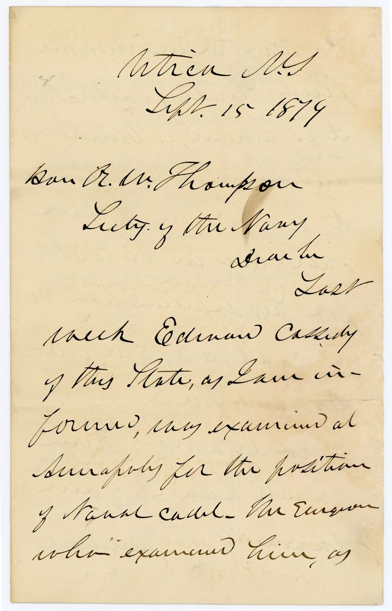 Image: Letter from Francis Kernan to Richard W. Thompson