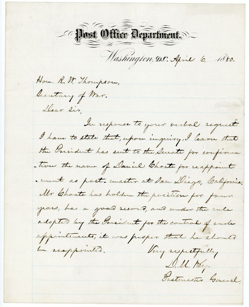 Image: Letter from David M. Key to Richard W. Thompson