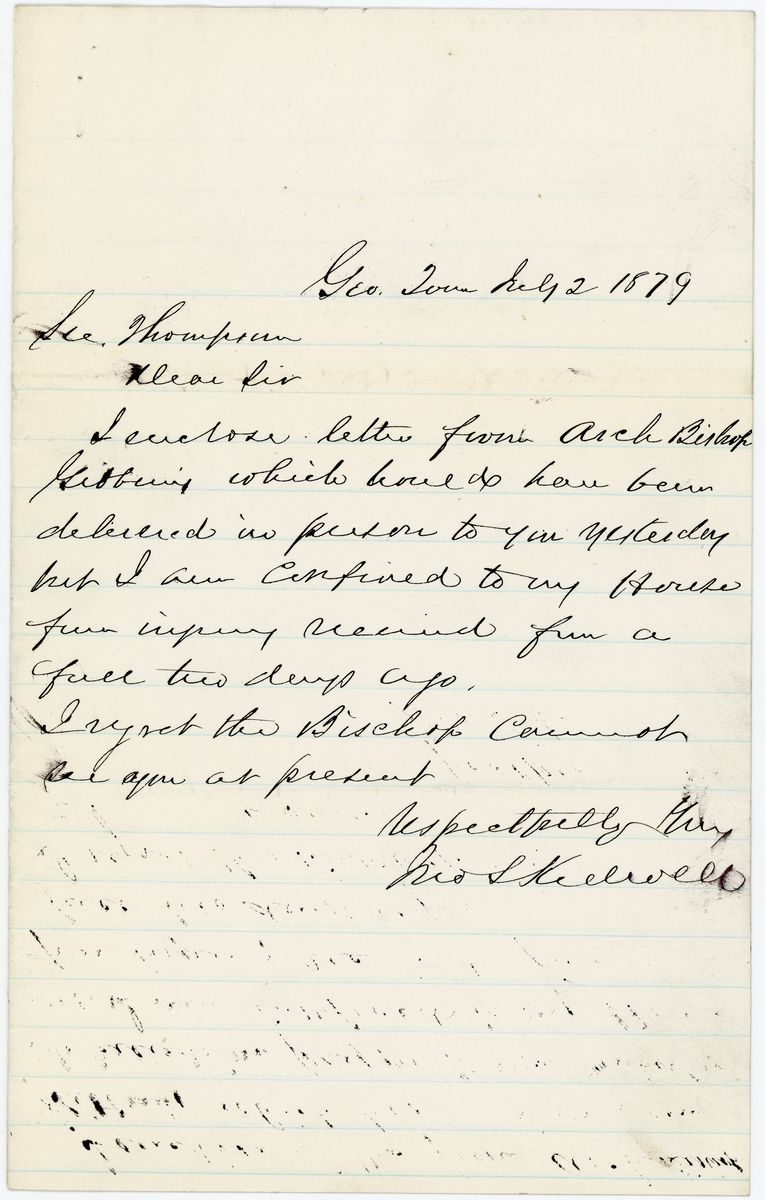 Image: Letter from John L. Kidwell to Richard W. Thompson