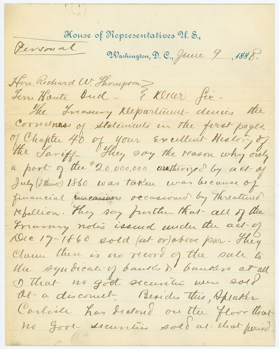 Image: Letter from Robert M. Lafollette to Richard W. Thompson