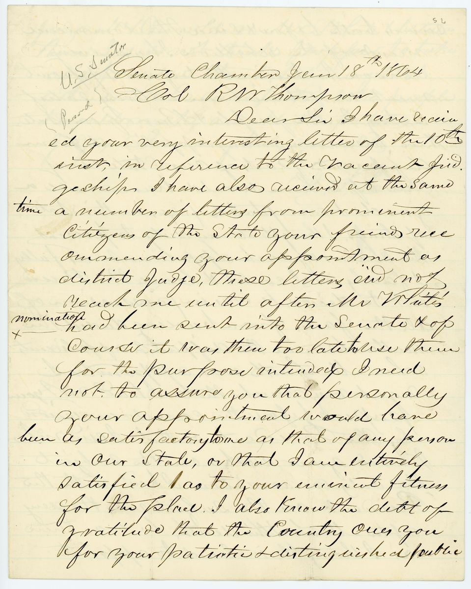 Image: Letter from Henry Smith Lane to Richard W. Thompson