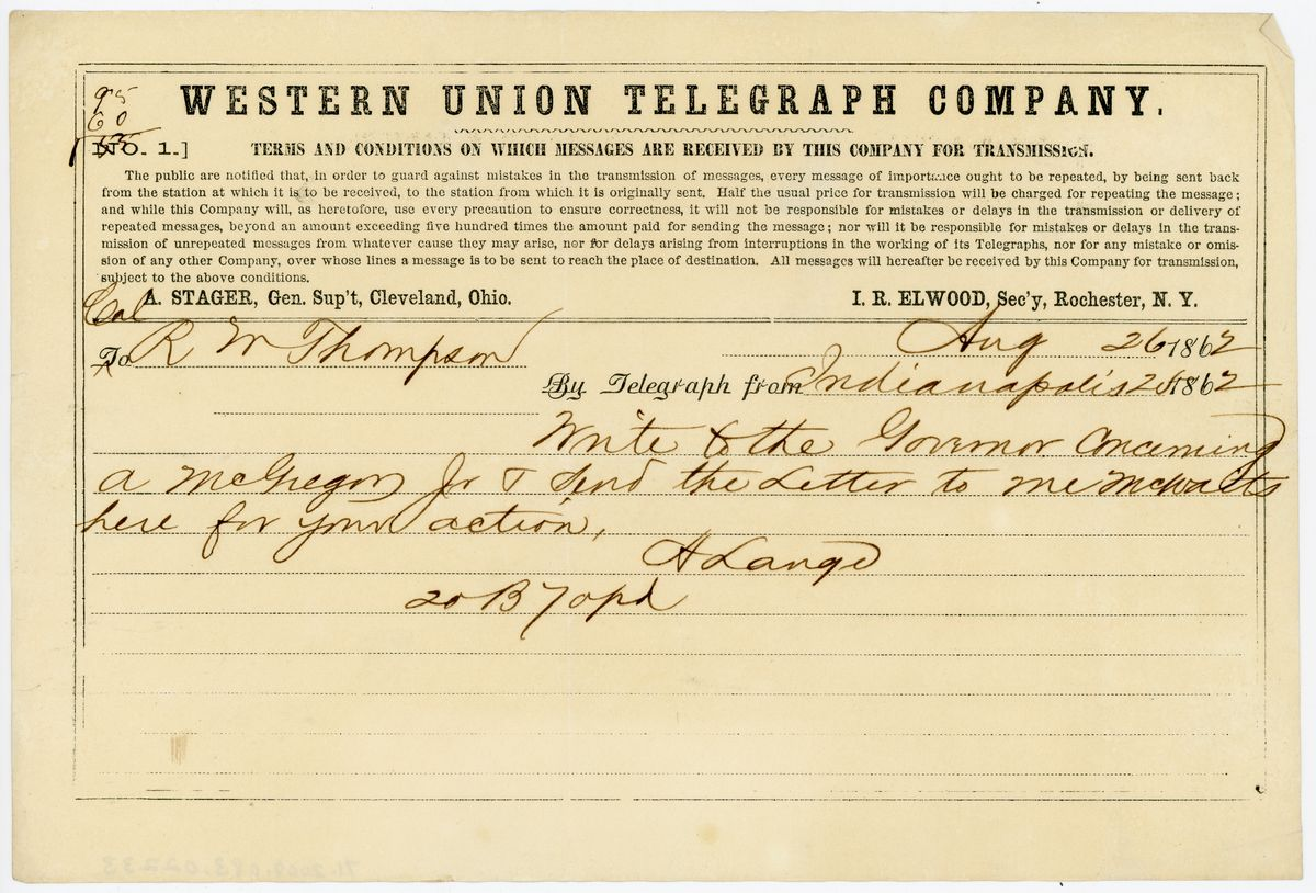 Image: Telegram from A. Lange to Richard W. Thompson
