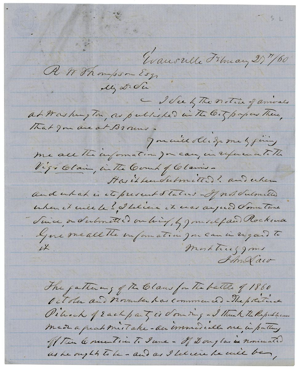 Image: Letter from John Law to Richard W. Thompson