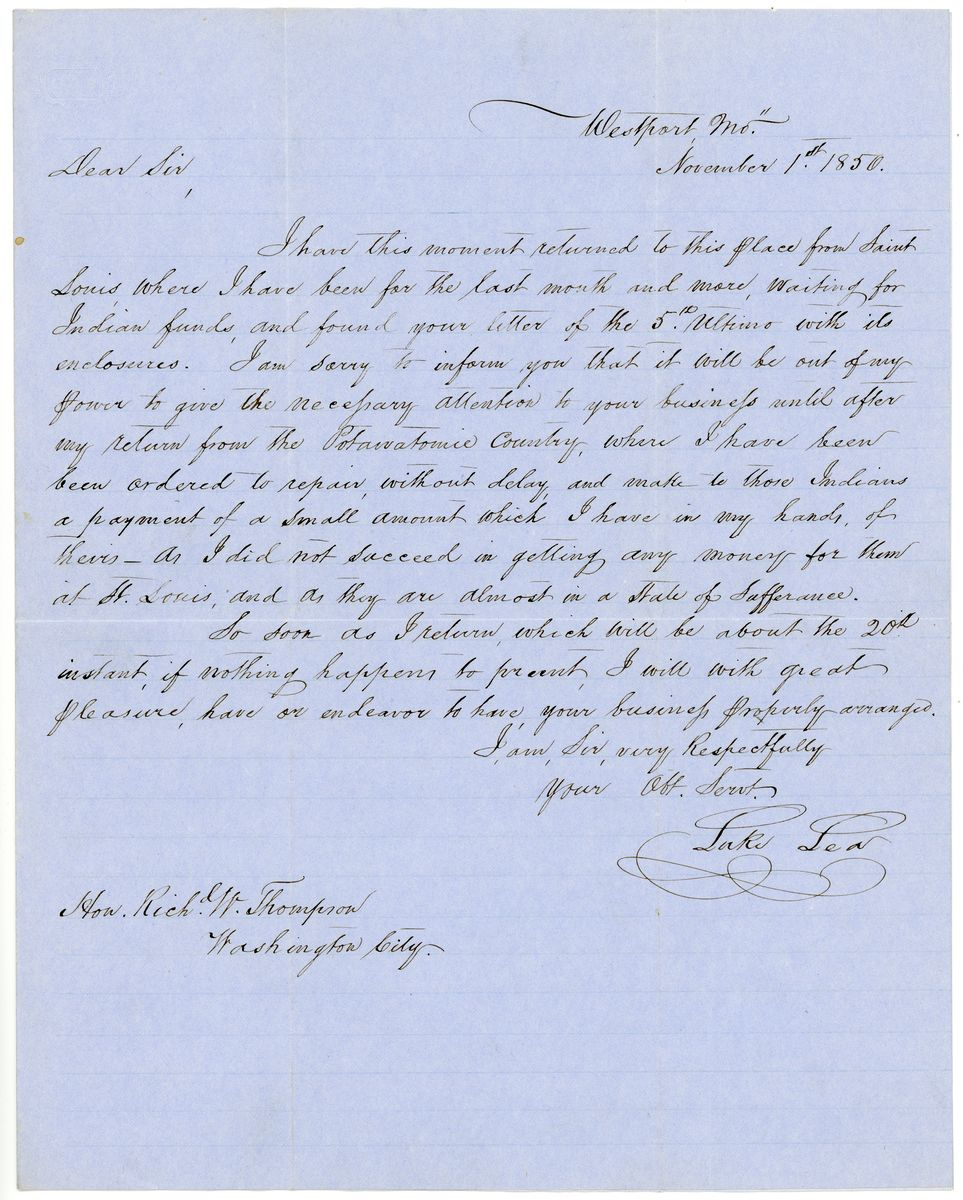Image: Letter from Luke Lea to Richard W. Thompson