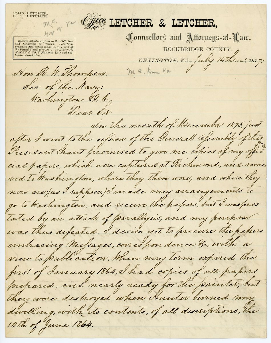 Image: Letter from John Letcher to Richard W. Thompson