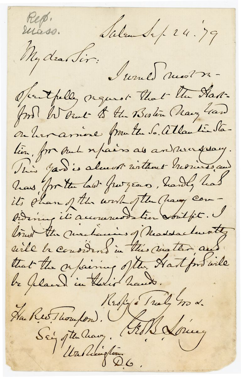 Image: Letter from George B. Loring to Richard W. Thompson