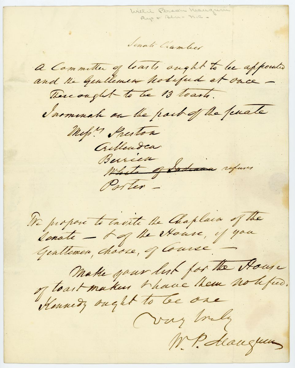 Image: Note from W.P. Mangum to Richard W. Thompson