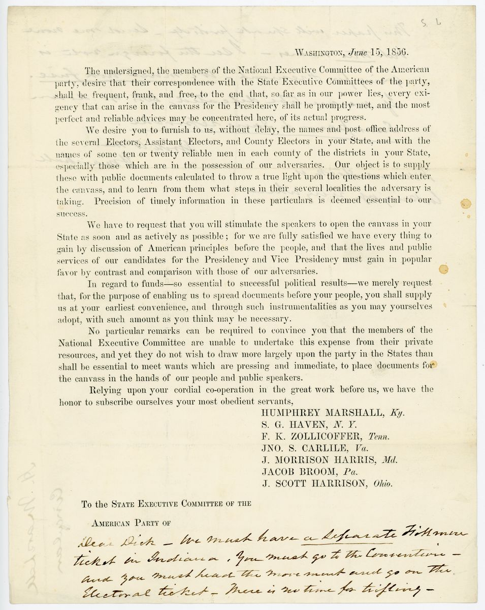 Image: Letter from Humphrey Marshall to Richard W. Thompson