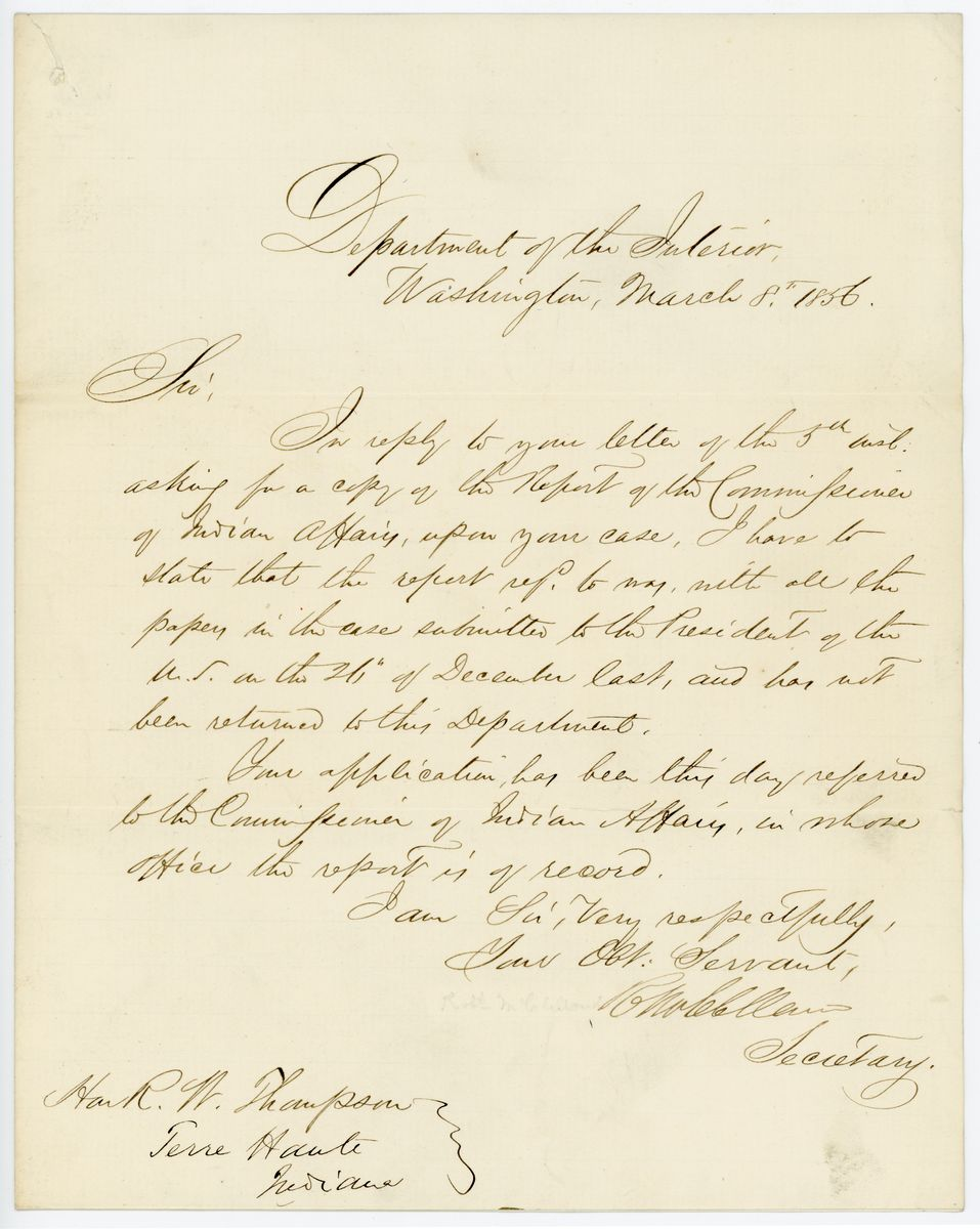 Image: Letter from Robert McClelland to Richard W. Thompson