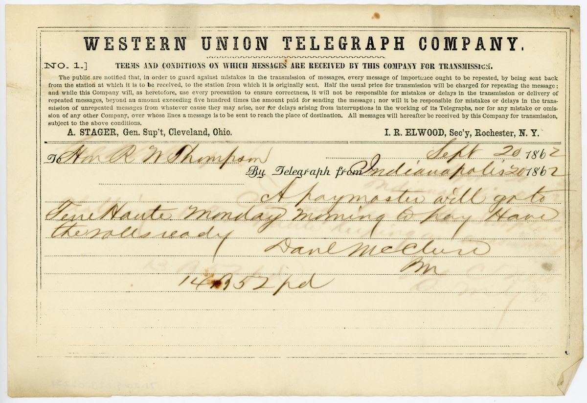 Image: Telegram from Daniel McClure to Richard W. Thompson