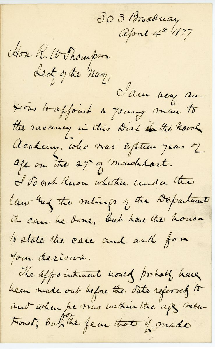 Image: Letter from Anson G. McCook to Richard W. Thompson