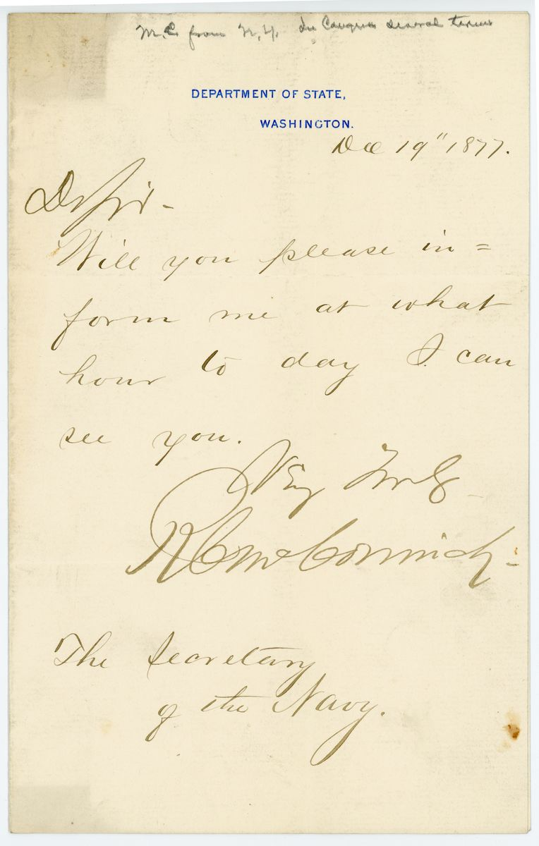 Image: Letter from Richard C. McCormick to Richard W. Thompson