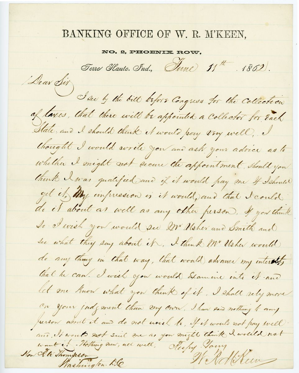 Image: Letter from W.R. McKeen to Richard W. Thompson