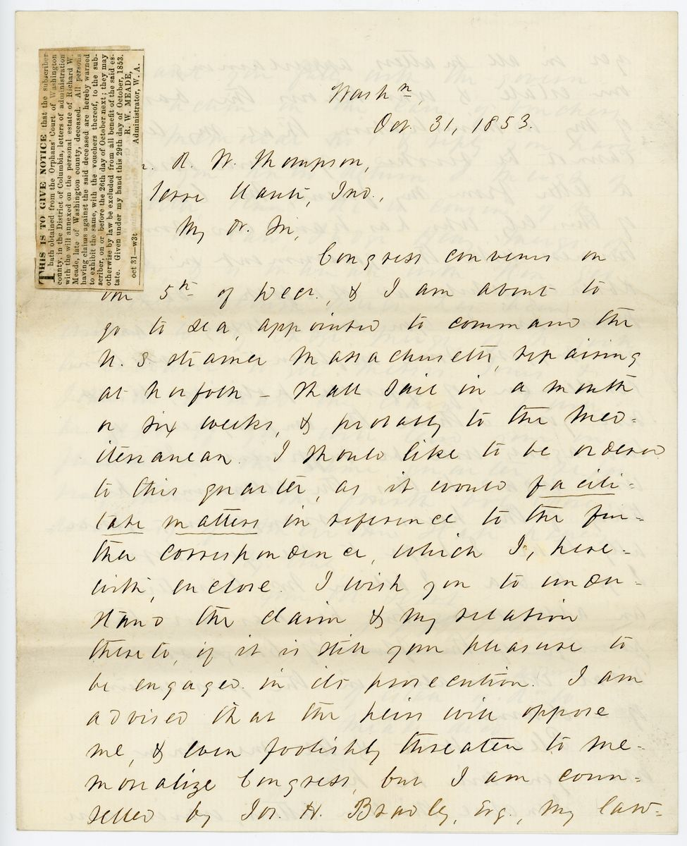 Image: Letter from Richard W. Meade to Richard W. Thompson