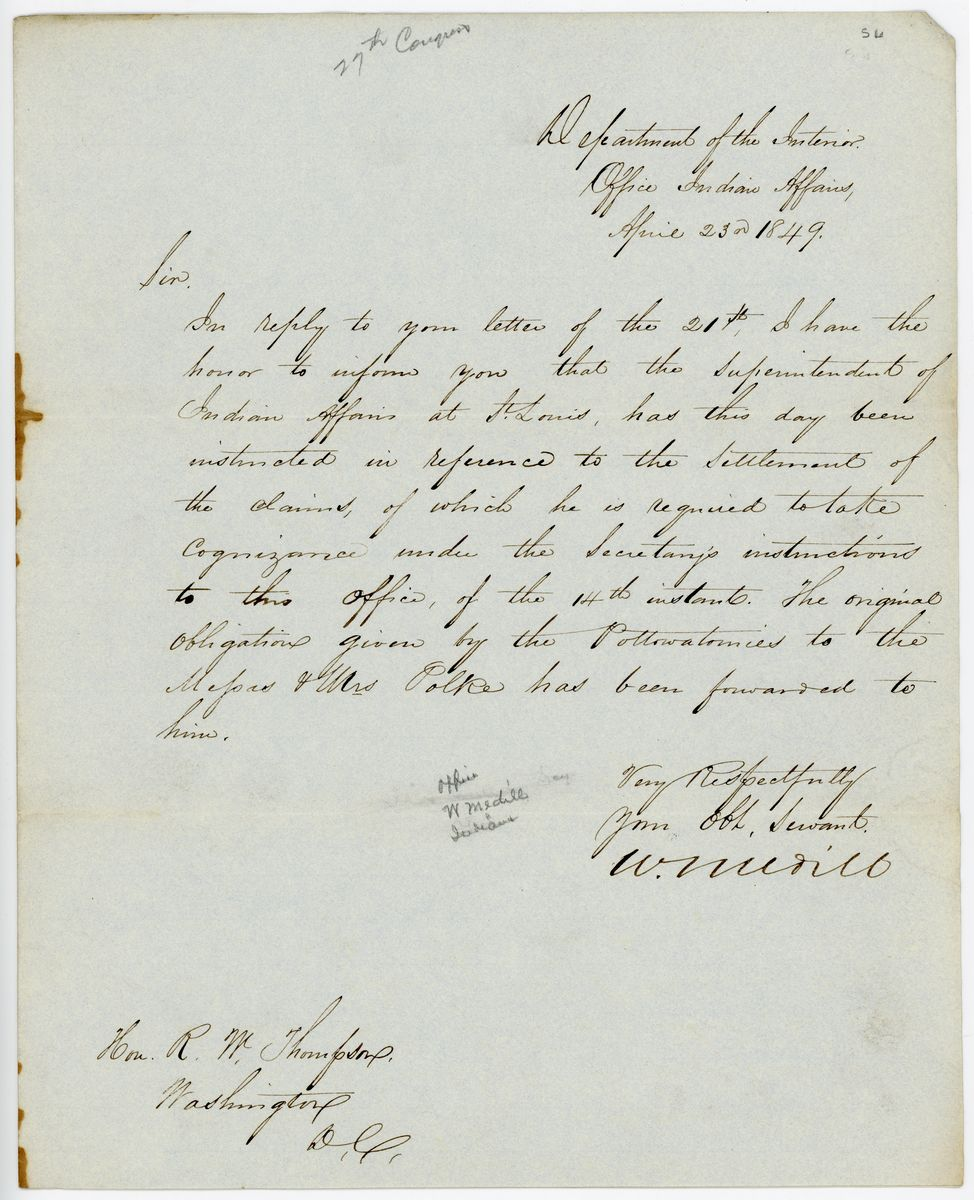 Image: Letter from William Medill to Richard W. Thompson