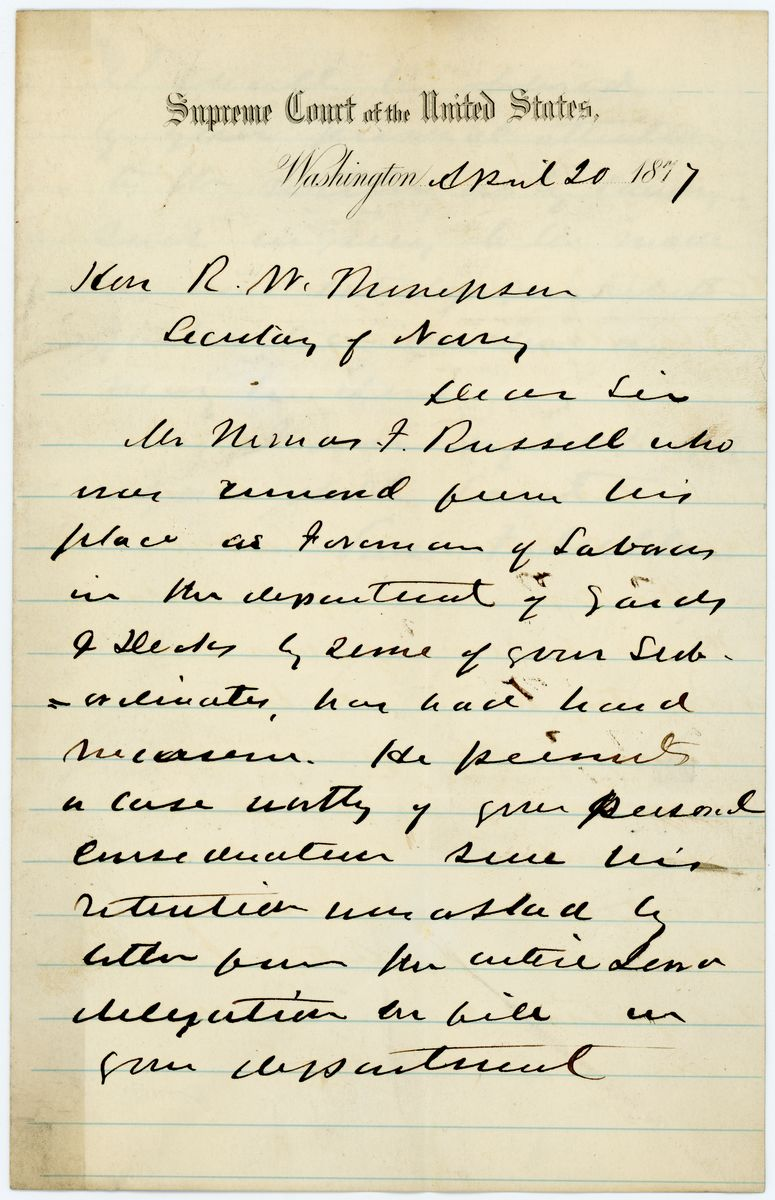 Image: Letter from Samuel F. Miller to Richard W. Thompson