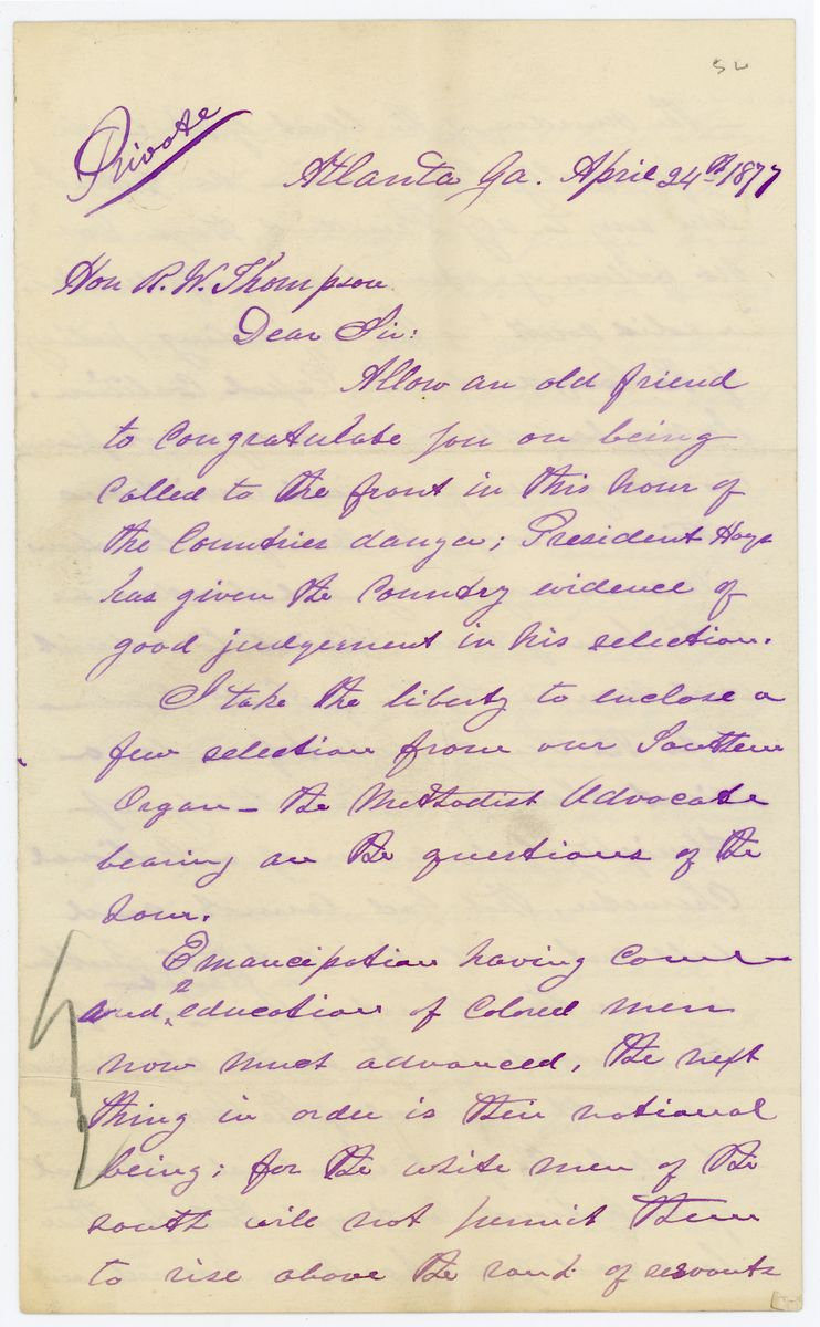 Image: Letter from James Mitchell to Richard W. Thompson