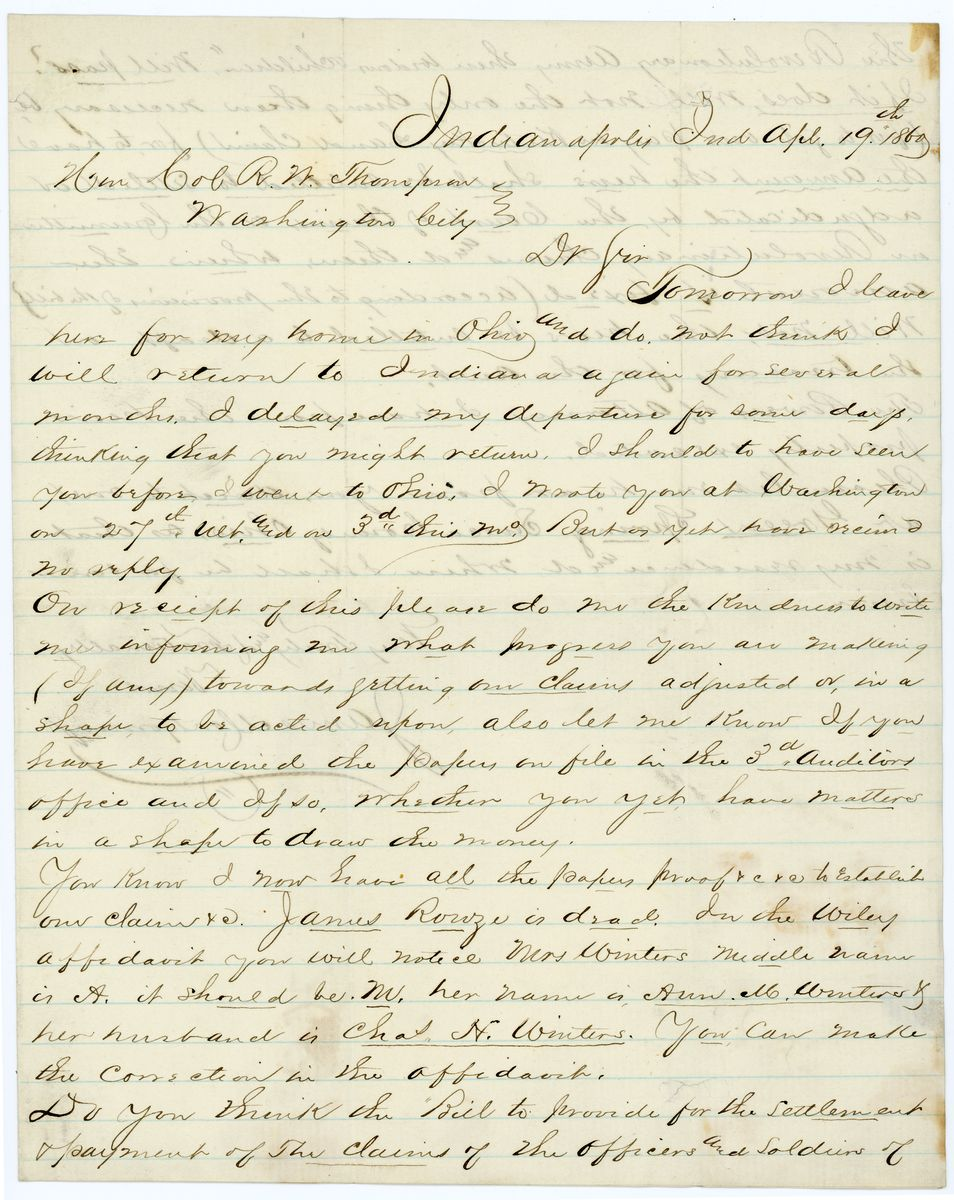 Image: Letter from James Montgomery to Richard W. Thompson