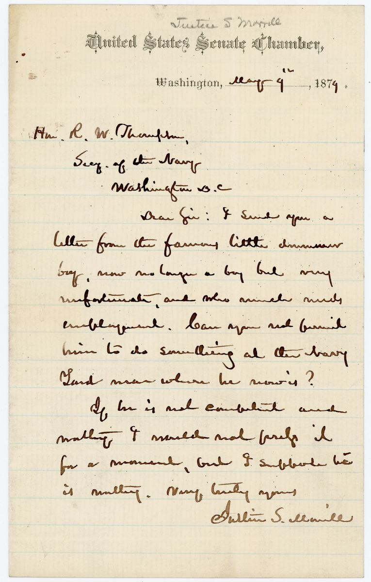 Image: Letter from Justin S. Morrill to Richard W. Thompson