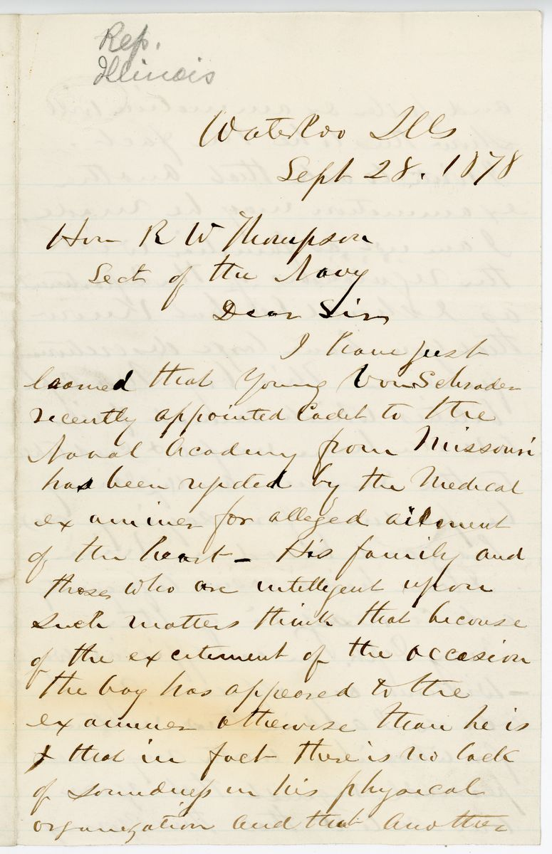 Image: Letter from W.R. Morrison to Richard W. Thompson