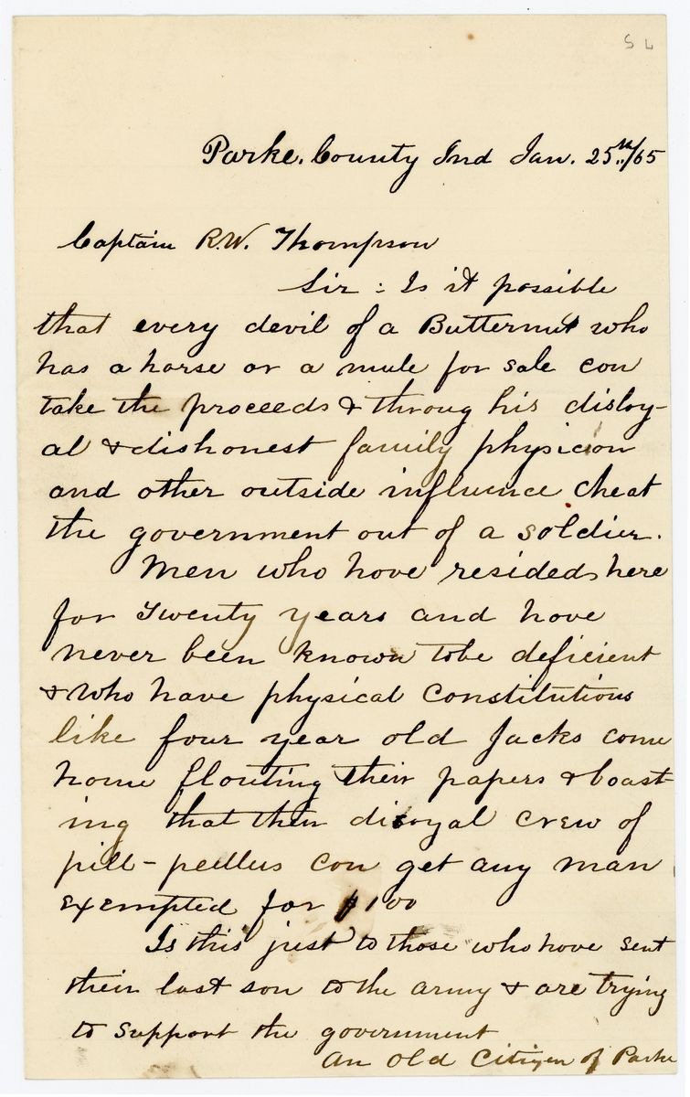 "Image: Letter from ""An Old Citizen of Parke"" to Richard W. Thompson"