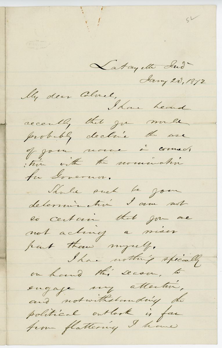 Image: Letter from Godlove S. Orth to Richard W. Thompson
