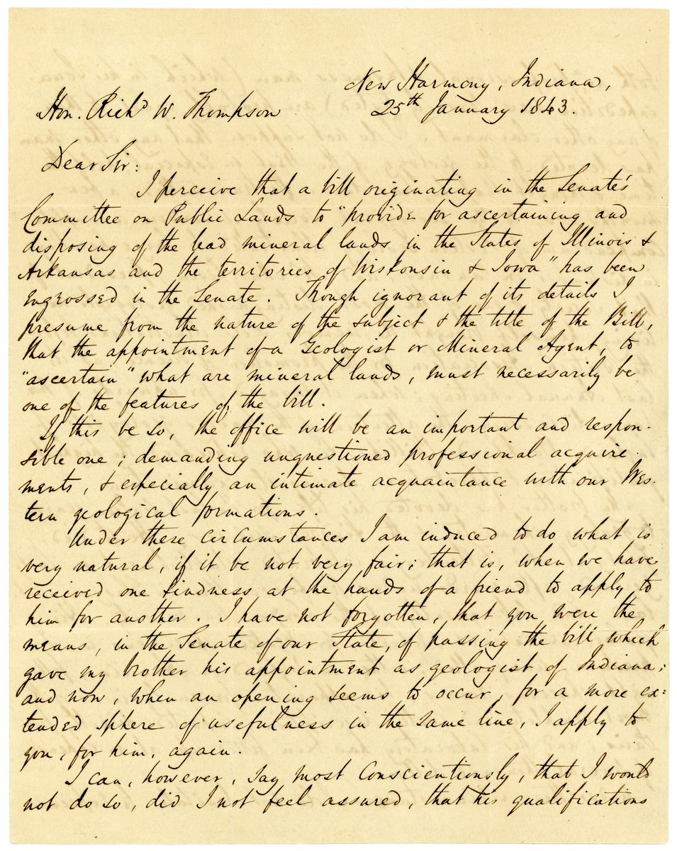 Image: Letter from Robert Dale Owen to Richard W. Thompson