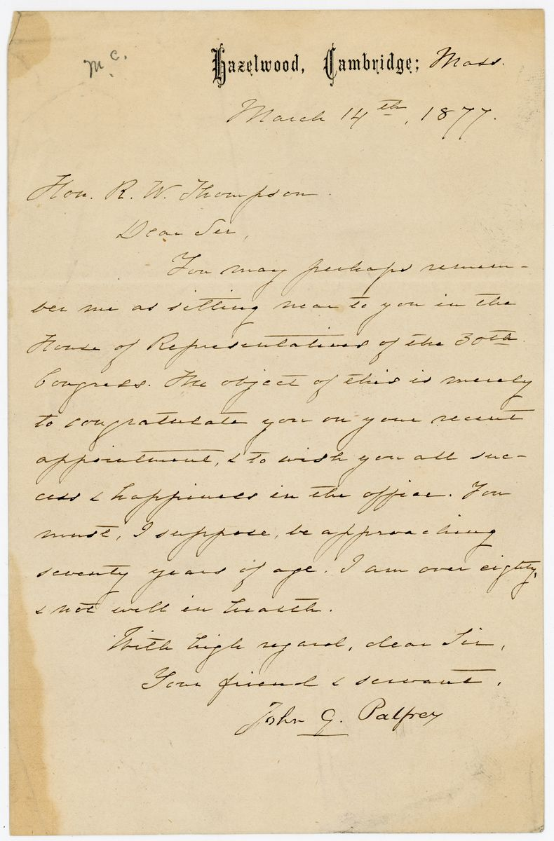 Image: Letter from John G. Palfrey to Richard W. Thompson