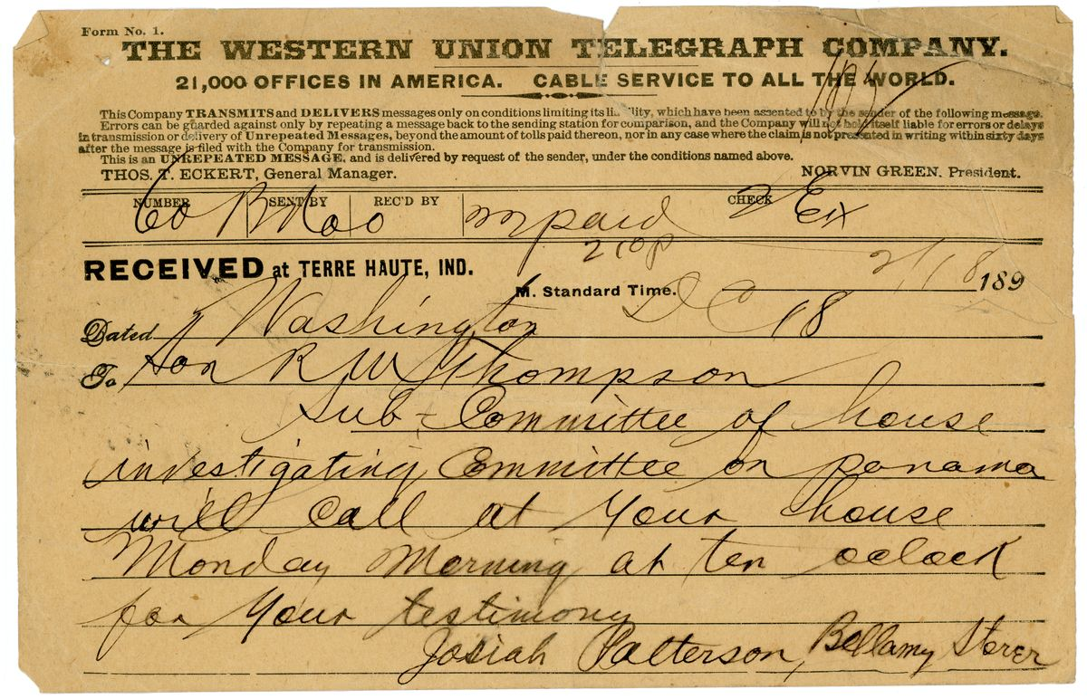 Image: Telegram from Josiah Patterson and Bellamy Storer to Richard W. Thompson