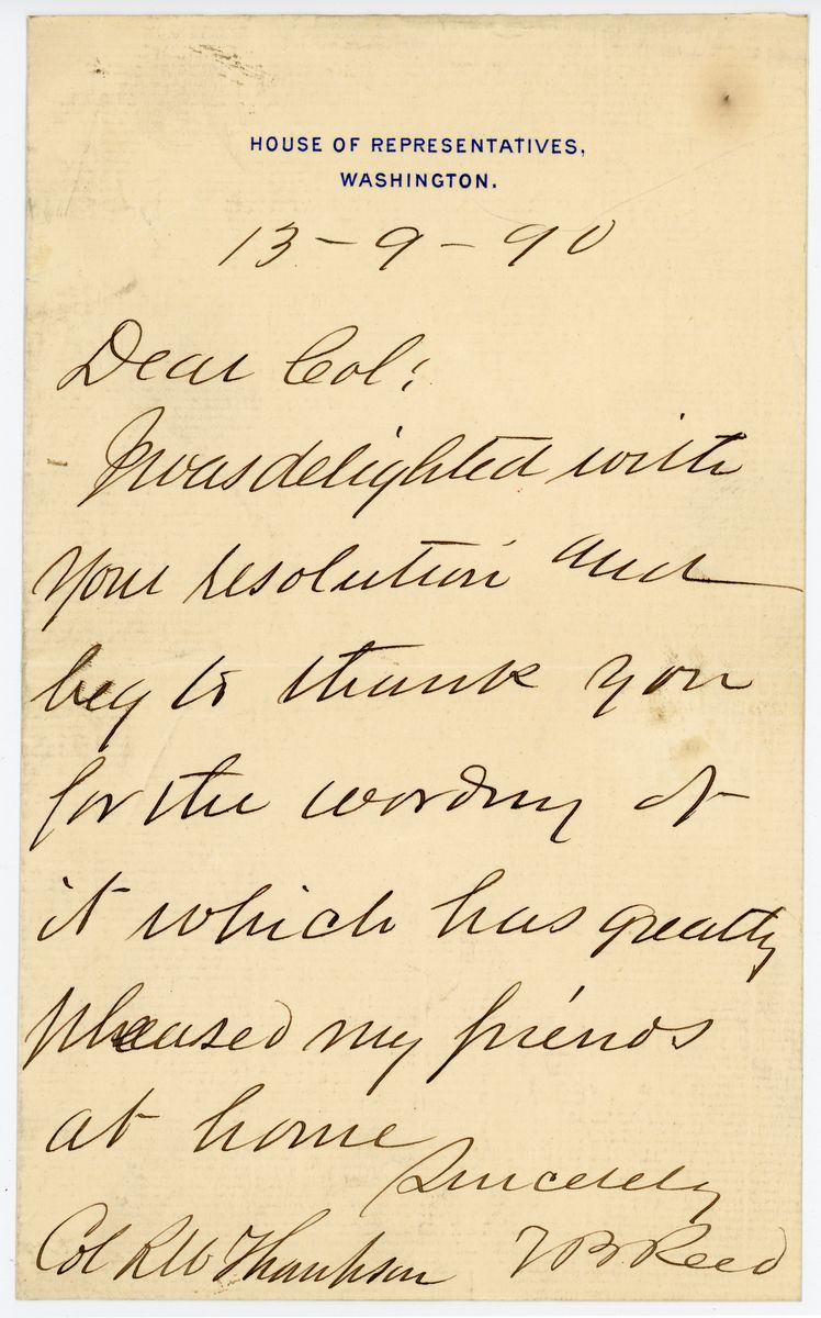 Image: Letter from Thomas B. Reed to Richard W. Thompson