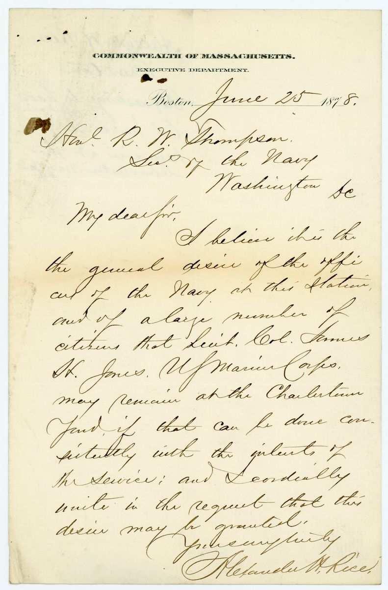 Image: Letter from Alexander H. Rice to Richard W. Thompson