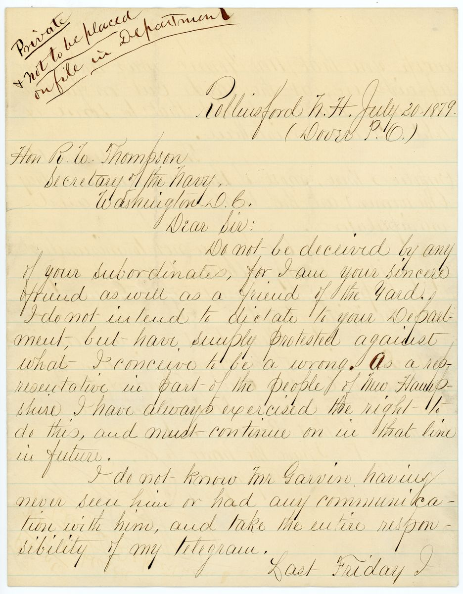 Image: Letter from E.H. Rollins to Richard W. Thompson