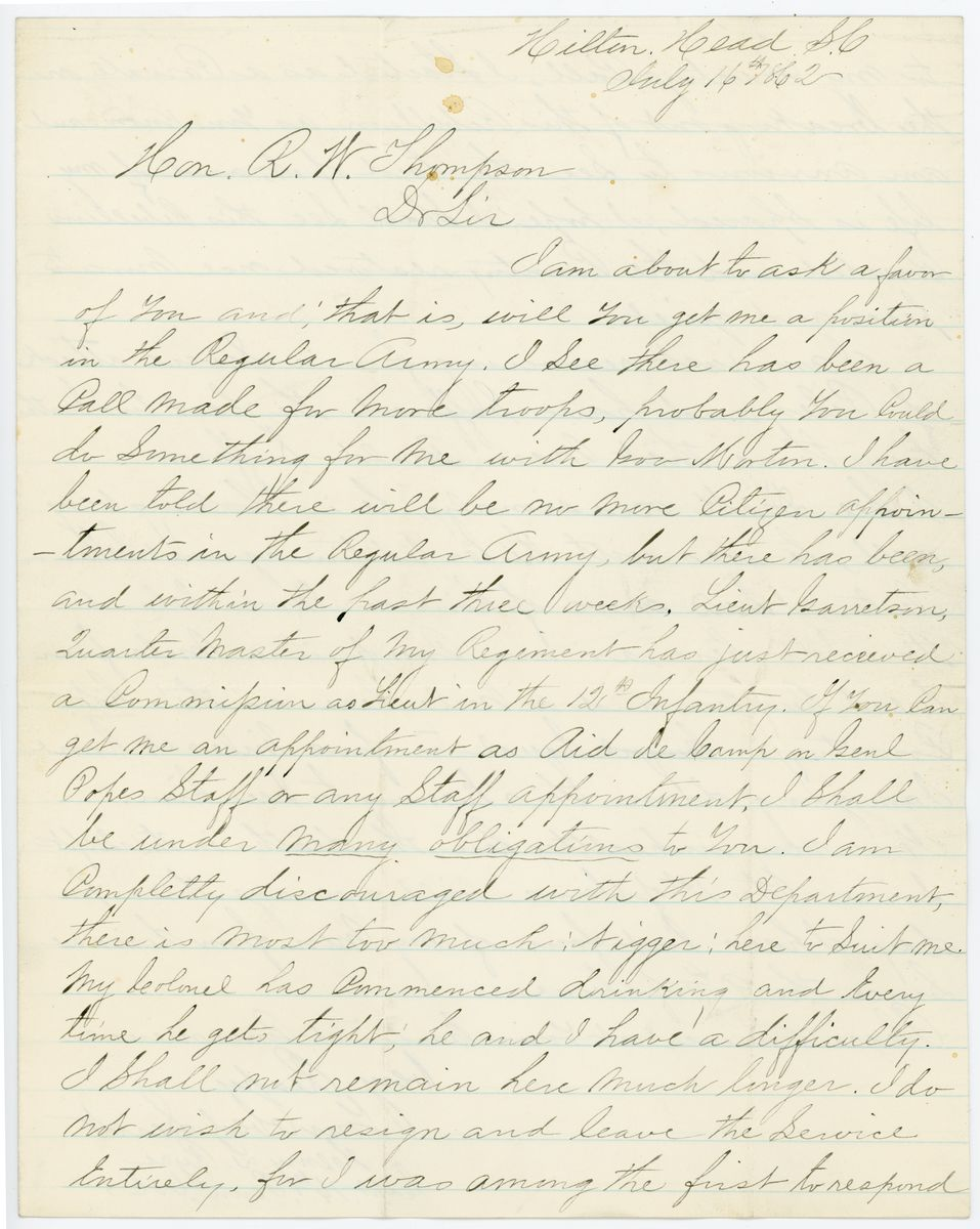 Image: Letter from Henry L. Ryce to Richard W. Thompson