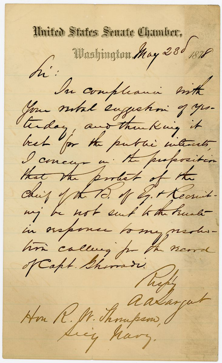 Image: Letter from A.A. Sargent to Richard W. Thompson