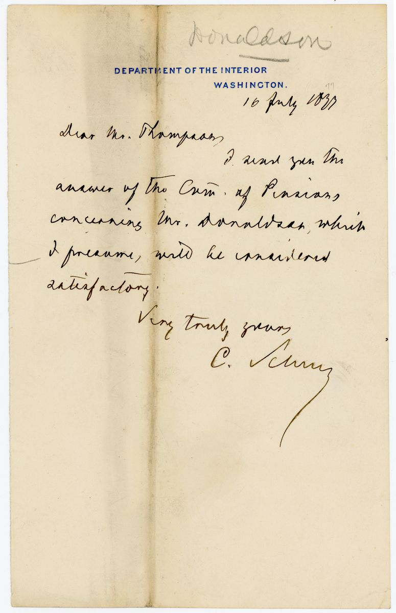 Image: Letter from Carl Schurz to Richard W. Thompson