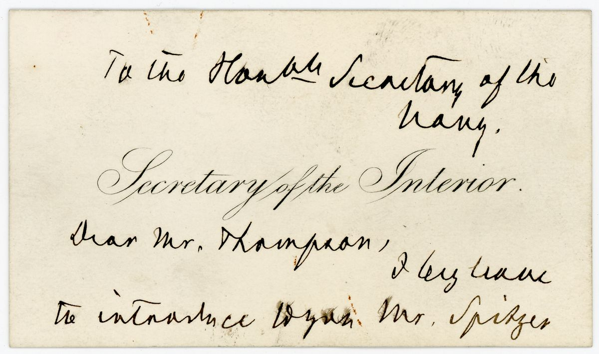 Image: Note from Carl Schurz to Richard W. Thompson