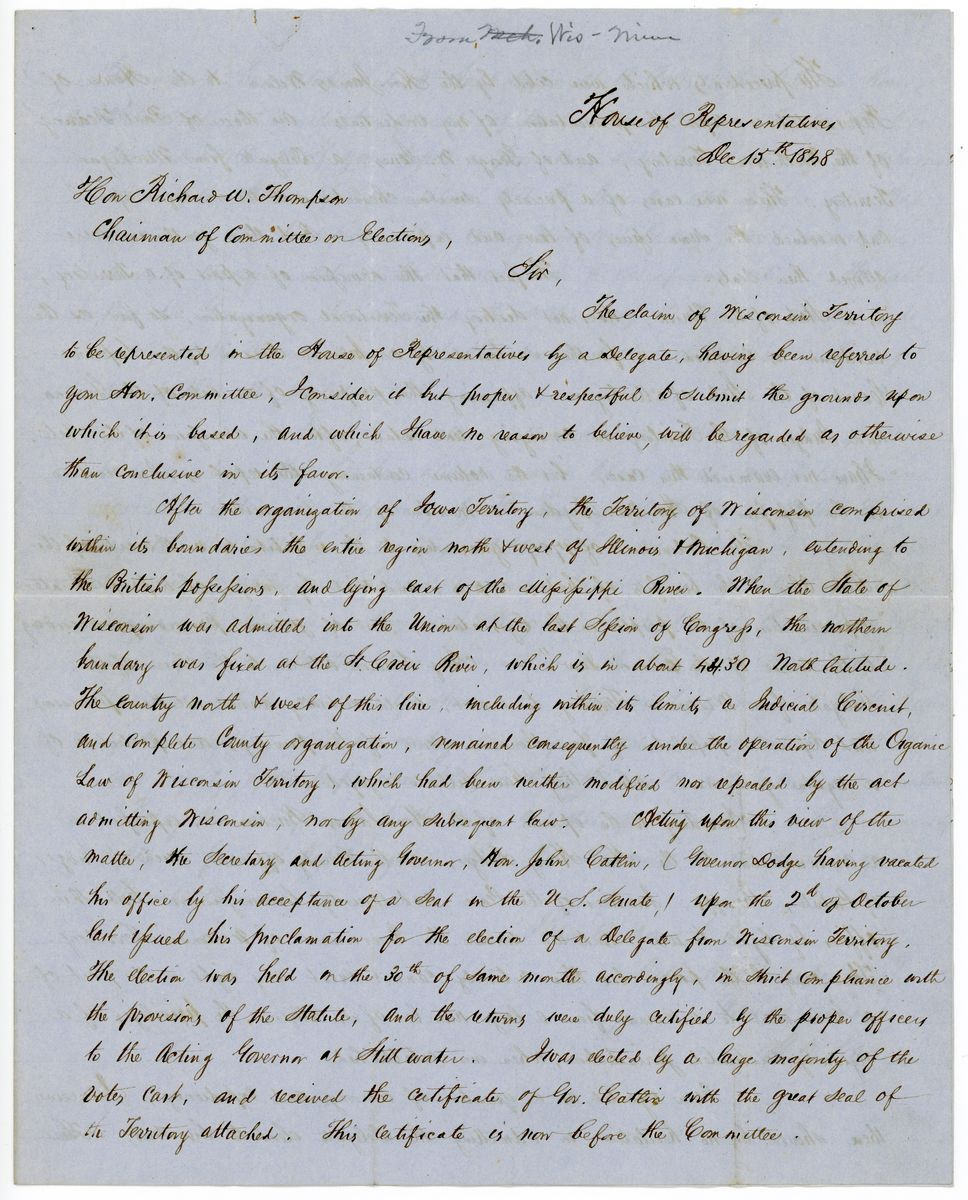 Image: Letter from H.H. Sibley to Richard W. Thompson