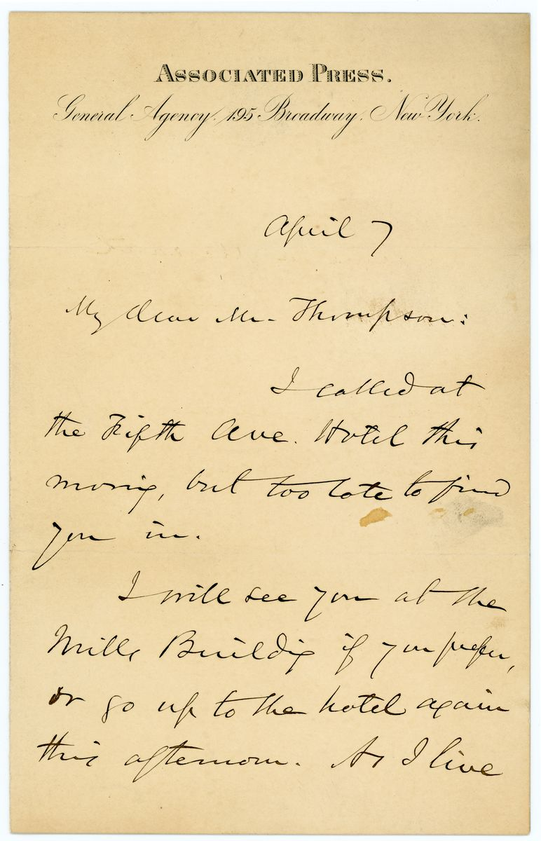 Image: Letter from William Henry Smith to Richard W. Thompson